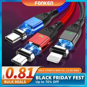 FONKEN-Cable magnético Micro USB tipo C, cargador magnético para iPhone, Samsung, Huawei, Xiaomi, carga rápida