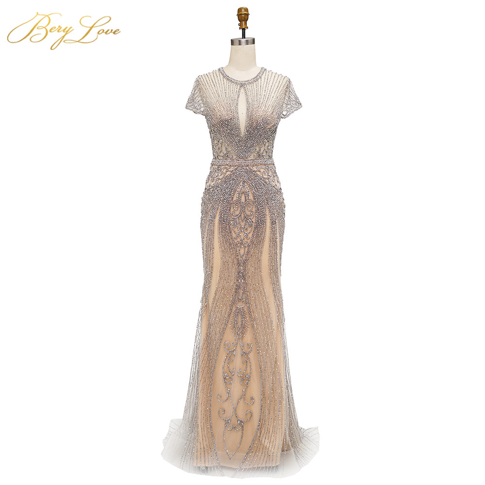 BeryLove 2019 Luxury Rhinestones Nude Mermaid Evening Dress Cap Sleeves Long Evening Pageant Dresses Formal Gown Robe De Soiree