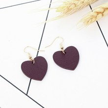 Japanese and Korean Fashion Simple Personality Earrings Love Wooden Red Long Short Paragraph Pendant