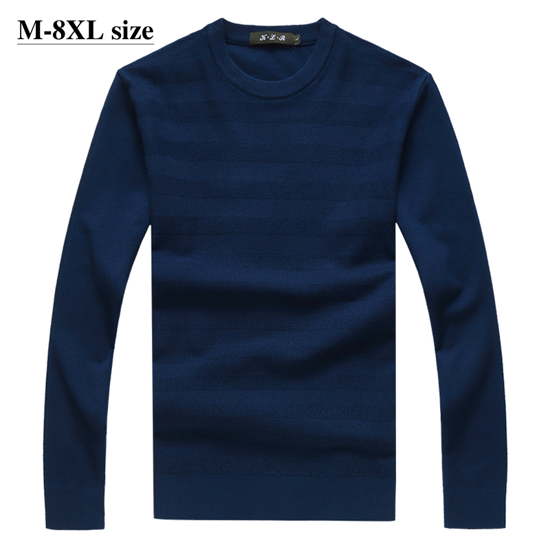 Plus Size 6XL 7XL 8XL Mens Sweater 2020 Autumn Winter Warm Fashion Casual 4 Colors Round Neck Knitted Pullover Sweaters