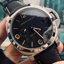 Commercial Military 44mm Silver Stainless Steel Case Automatic Winding Black Leather Strap Date Смотреть человек