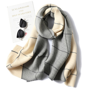 Image 4 - Lady Winter Cashmere Scarf for Women Plaid Solid Pashmina Scarves Crinkle Thick Wool Knit Unisex Neck Scarfs Stole