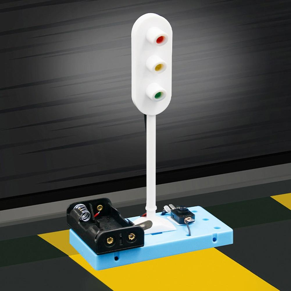 Kids DIY Assembly Electric Traffic Signal Light Model Scientific Experiment Toy