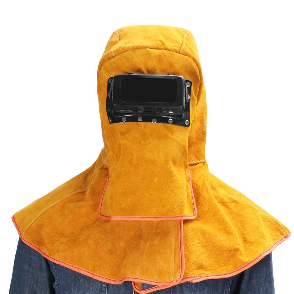 Leather Hood Welding Helmet Mask Solar Auto Darkening Welder Security Protection Shawl Helmet Heat Insulation Anti-Spatter