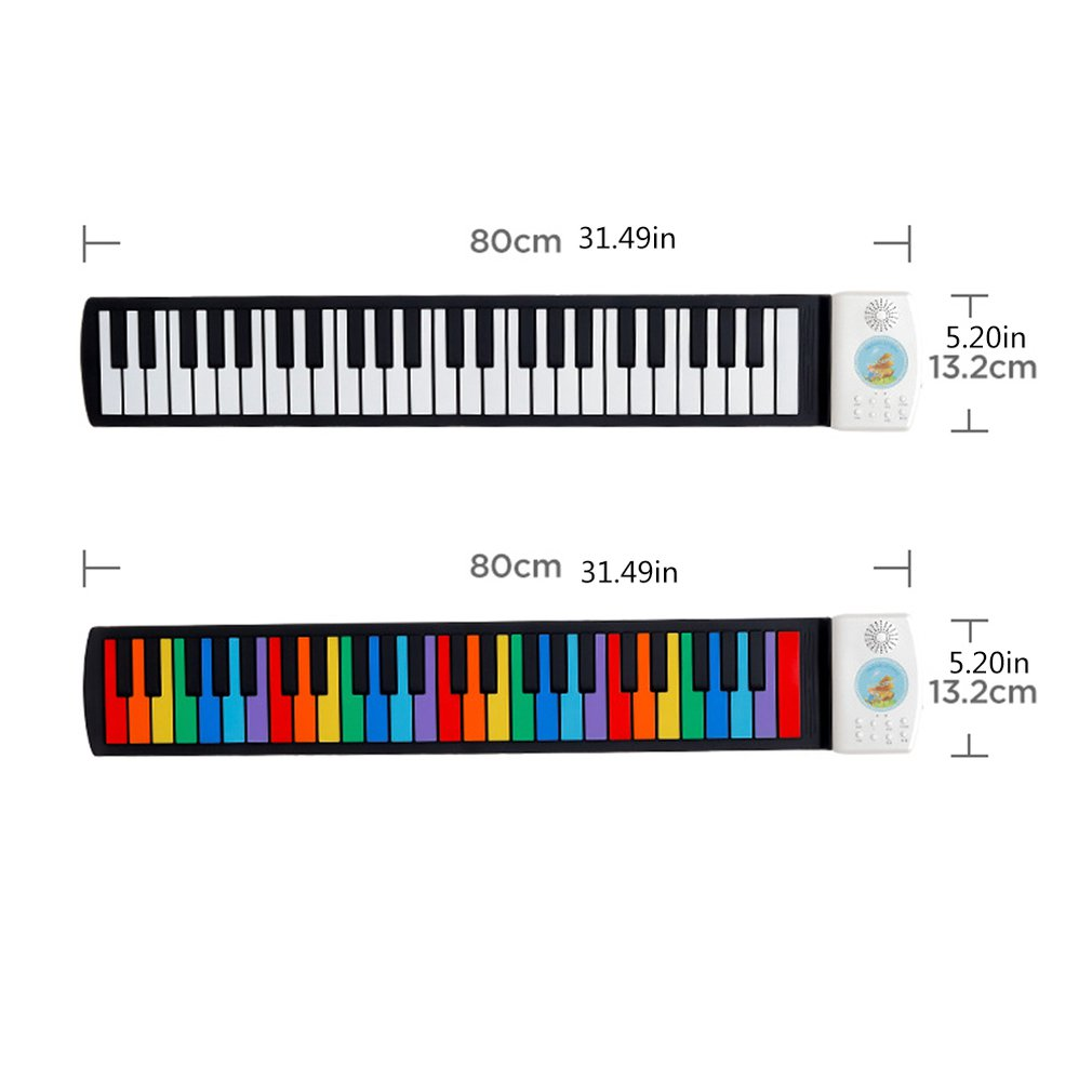 Children 49 Key Speaker Hand Roll Up Piano Portable Folding Electronic Soft Keyboard Kid Music Toy
