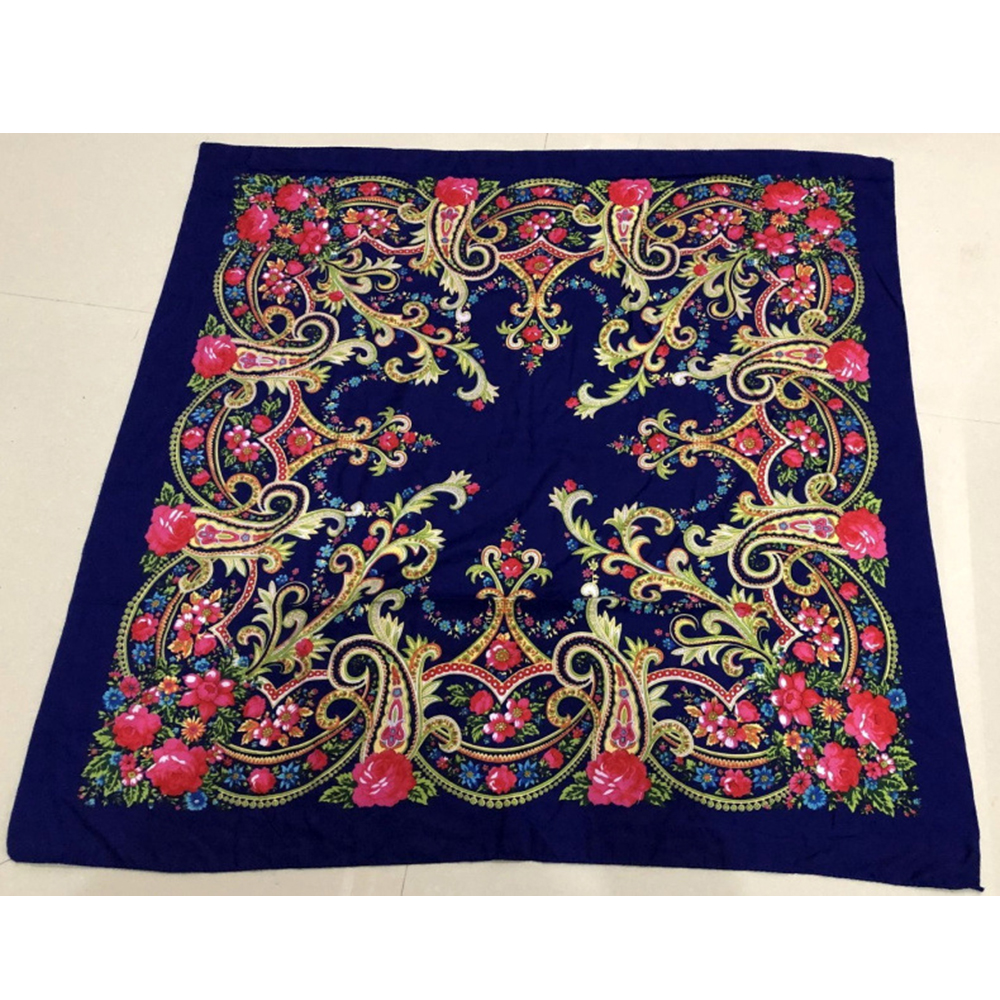 100*100cm Flowers Hijab Abaya Square Scarf  Turban Muslim Hijabs Foulard Femme Musulman Turbans For Women Headscarf Turbante