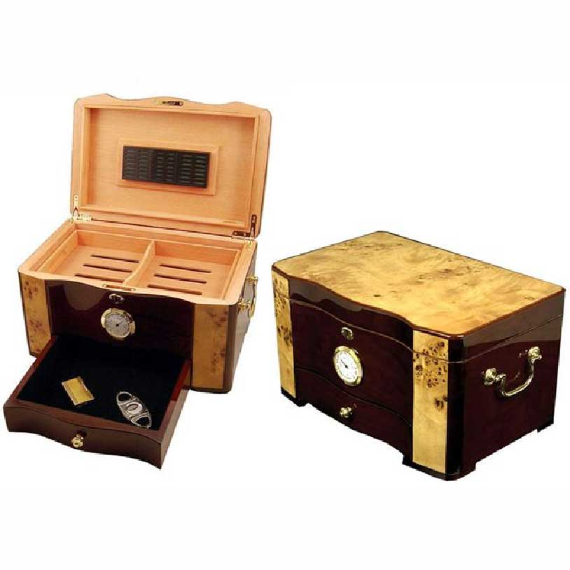 120ct Humidor Large Capacity Cedar Wood Cigar Moisturizing Box With Hygrometer Humidifier