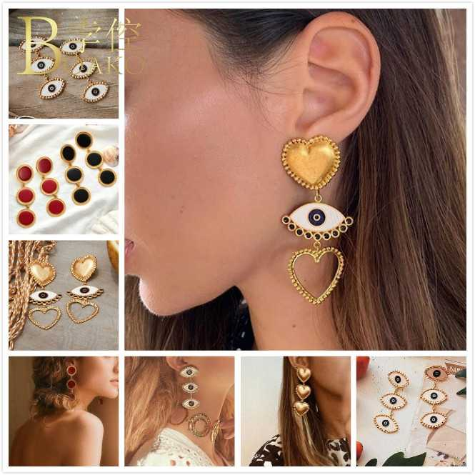 BOAKO Long Drop Earrings For Women Trendy Heart Earrings Dangle Gold Evil Eye Earring Trendy Enamel Earring Girl Party aretes Z5
