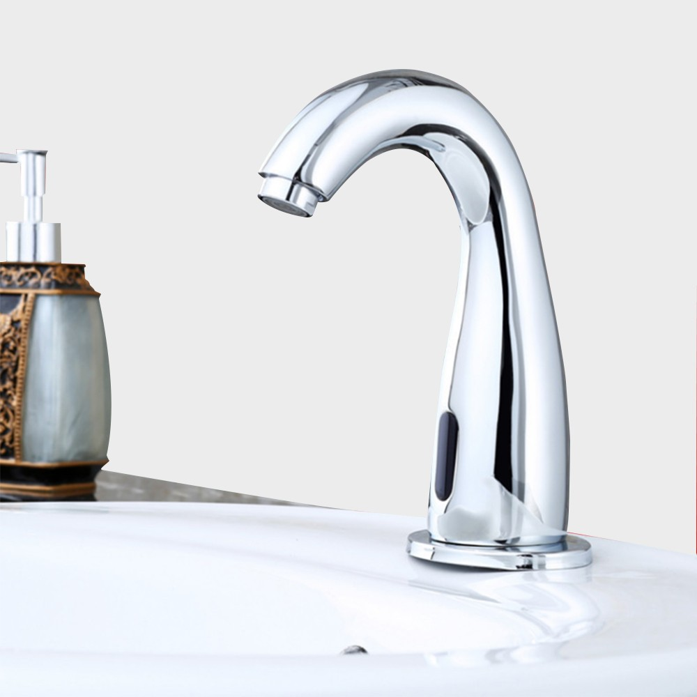 Touchless Automatic Smart Infrared Sensor Bathroom Kitchen Sink Faucet Chrome Finished Brass Solenoid Valve Basin Cold Water Tap