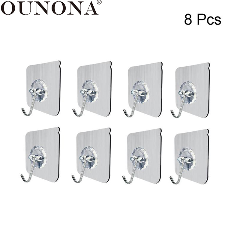 OUNONA 8pcs Wall Hooks Transparent Suction Cup Sucker Wall Door Hooks Hanger Towel Bath Key Coat Hooks For Kitchen Bathroom