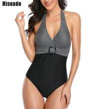 Riseado maiôs de uma peça do vintage listrado impressão banho feminino 2020 cabresto fatos de banho feminino com cinto beach swim wear