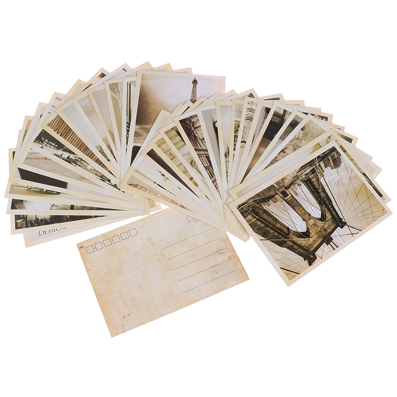 Hot sale 32pcs Classical Famous Europe Building Vintage Style Memory Postcard Set Greeting Cards Gift Cards Christmas Postcards