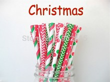 Hot Sale 125pcs Red & Green Christmas Paper Straws Event Party Supplies Drinking For Kids Birthday Wedding Decorations