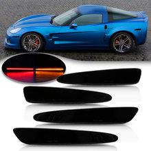 Для Chevrolet Chevy Corvette C6 2005-2013 полный светодиодный, боковой, габаритный фонарь Передняя Задняя Янтарная красная Автомобильная сигнальная лампа 4 ...