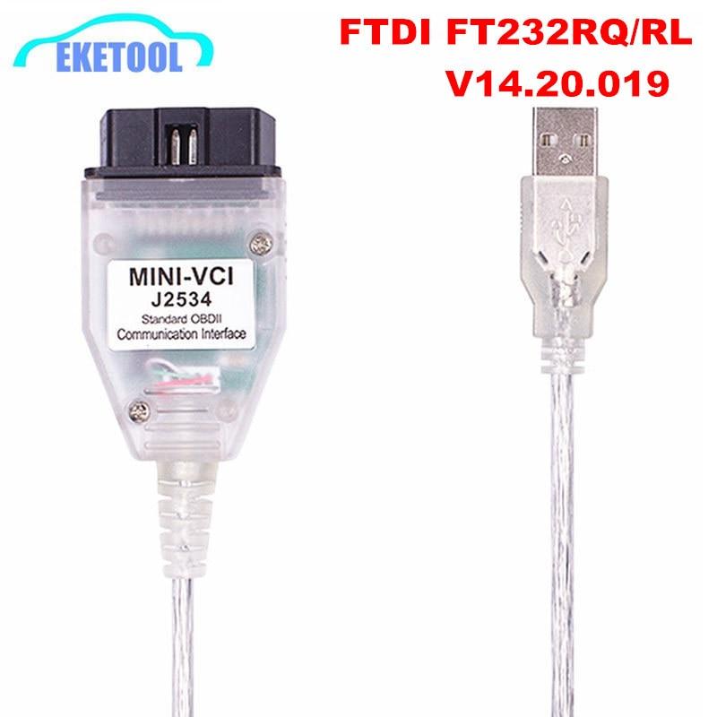 Mini vci v14.20.019 ftdi ft232rl ft232rq MINI-VCI j2534 para toyota tis techstream obd2 relação diagnóstico do veículo