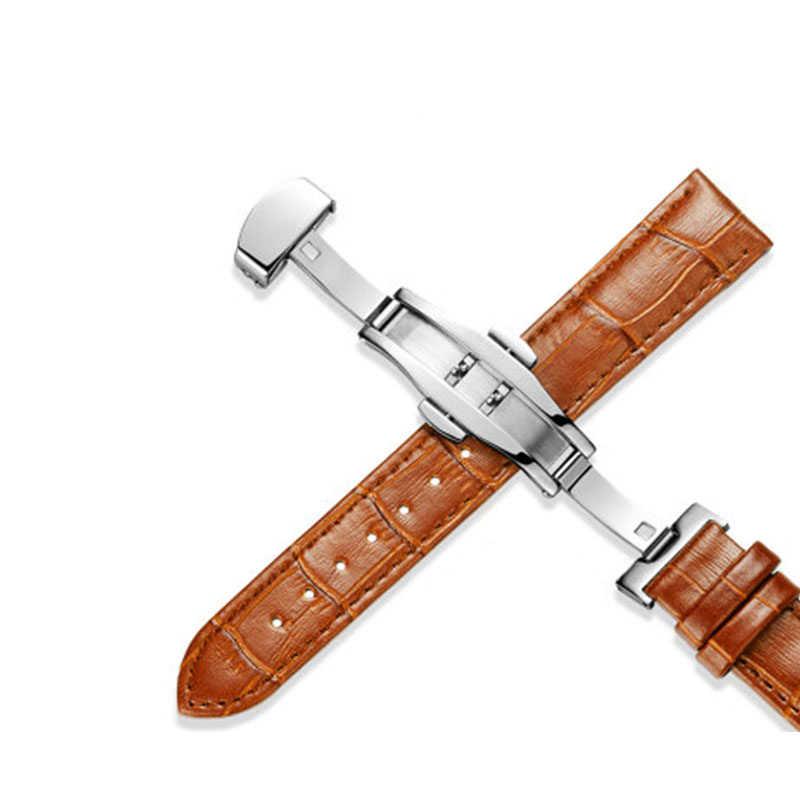 Genuine Leather Common Use Watchbands 14-24mm Universal Watch Butterfly buckle Band Steel Buckle Strap Wrist Belt Bracelet +tool