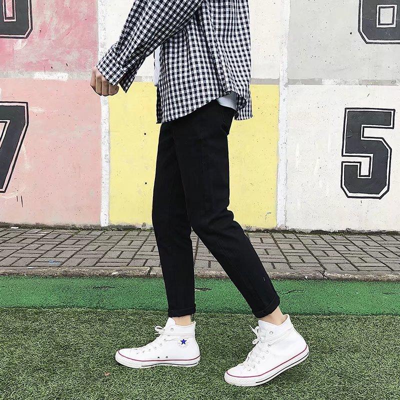 Summer Thin Black Ankle-length Jeans Men Skinny Korean-style Trend Versatile BOY'S 9 Points Pants Men's Slim Fit