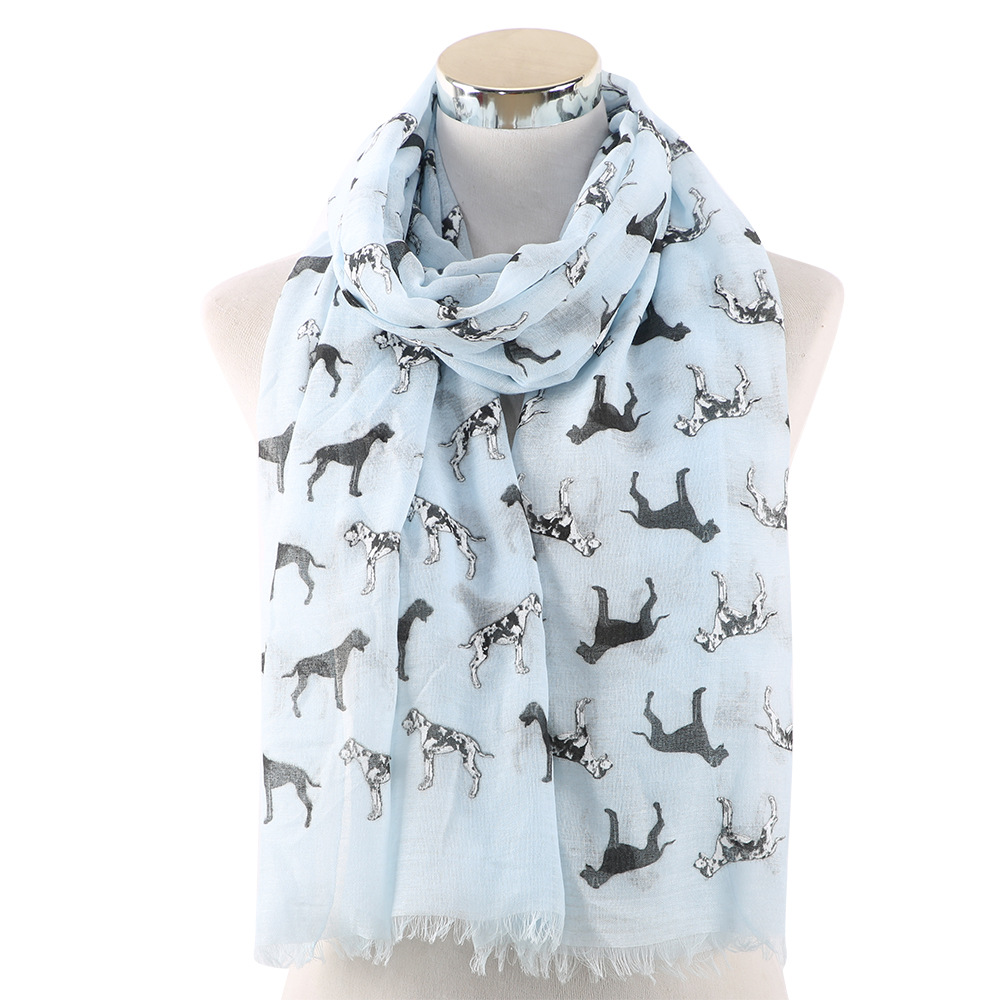 2019 Fashion Women Scarf Spring Summer Pashmina Scarves Lady Shawls And Wraps Dog Print Foulard Stole Head Hijab Scarfs