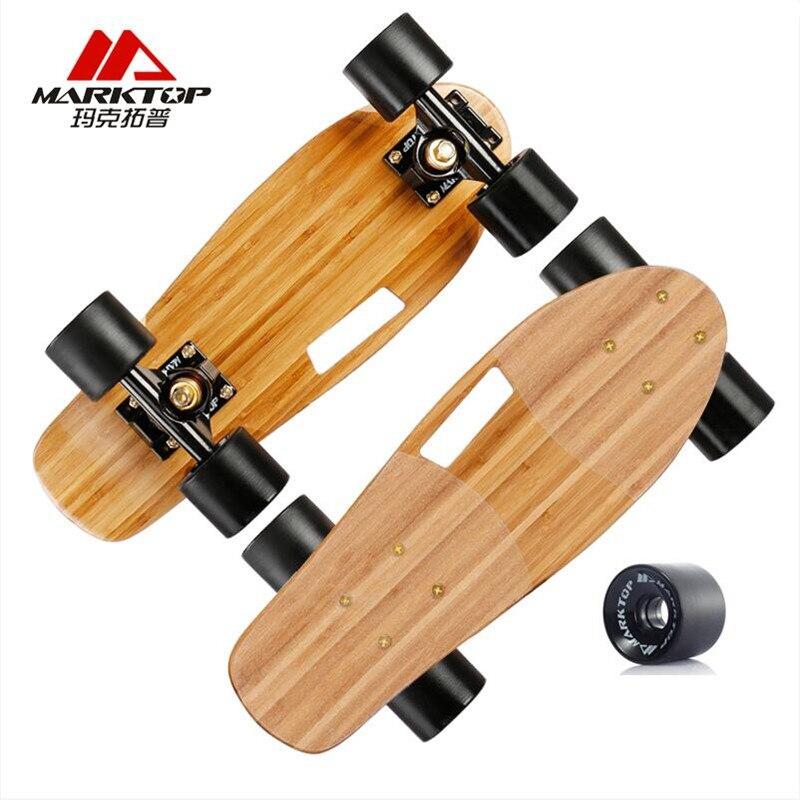MARKTOP Mini Skateboard Deck 6 inch Quality Bamboo Maple Penny Board 45*15cm Skate Board For Adults Kids