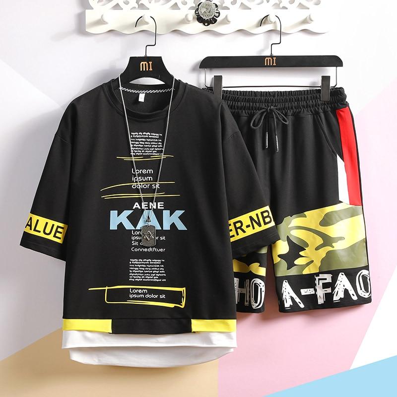 Men 2 Pieces Sets T-shirts+Shorts Good Quality Men Cotton Hip Hop Loose Sets New Mens Summer Tracksuits Sportswear Jogger Sets
