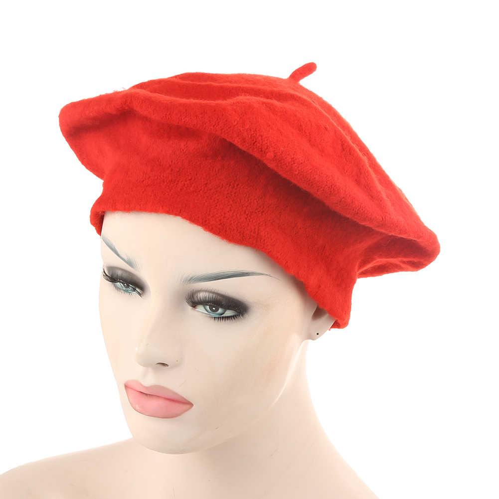 帽子女性ガールソリッドカラー暖かい冬ニットベレーフレンチアーティストビーニーハットスキーキャップ新年のギフトboinas mujer