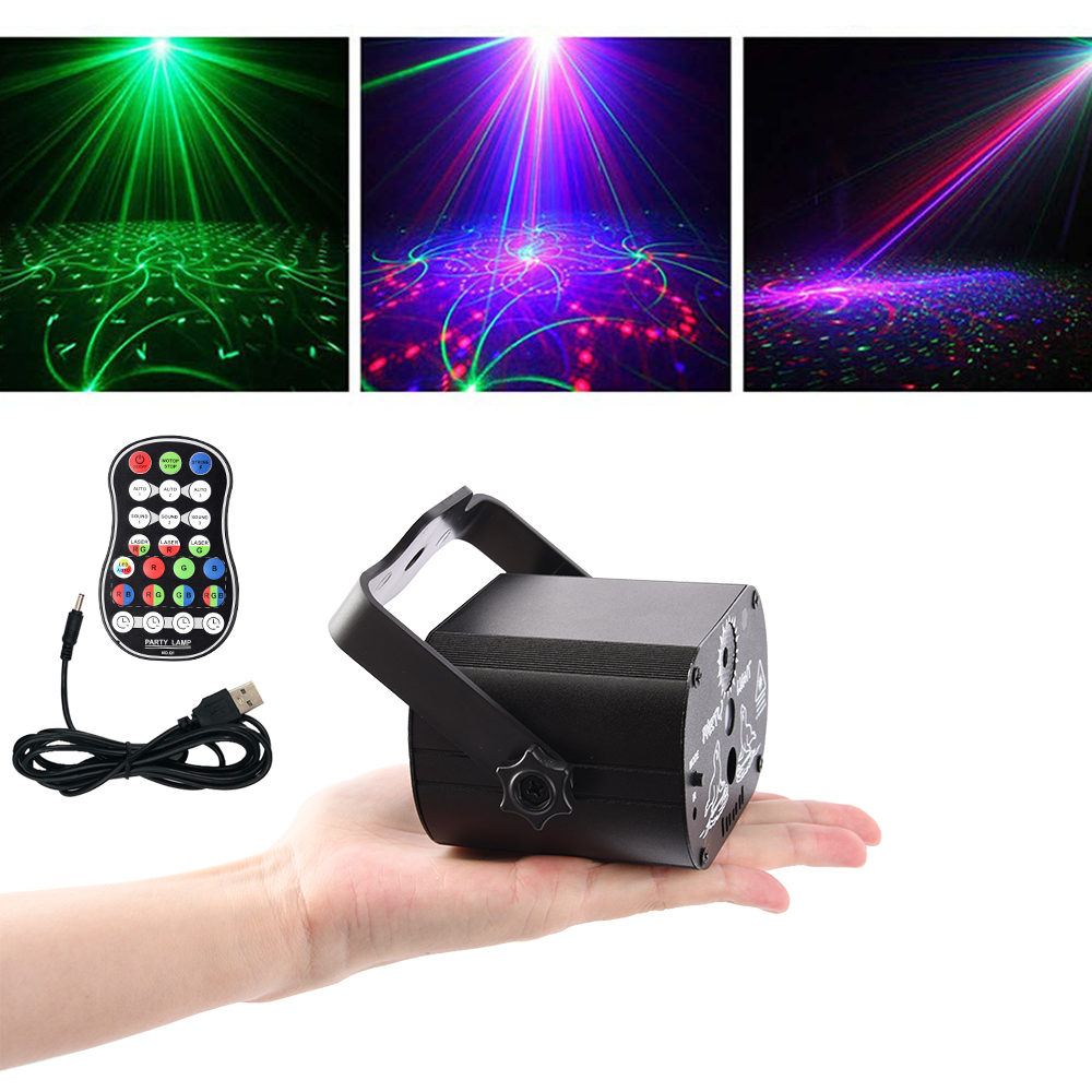 Disco Light Effect LED Stage Lighting Audio Led Laser Projector  DJ Club Bar KTV Family Led RGB Party Light Show With Remote Controller