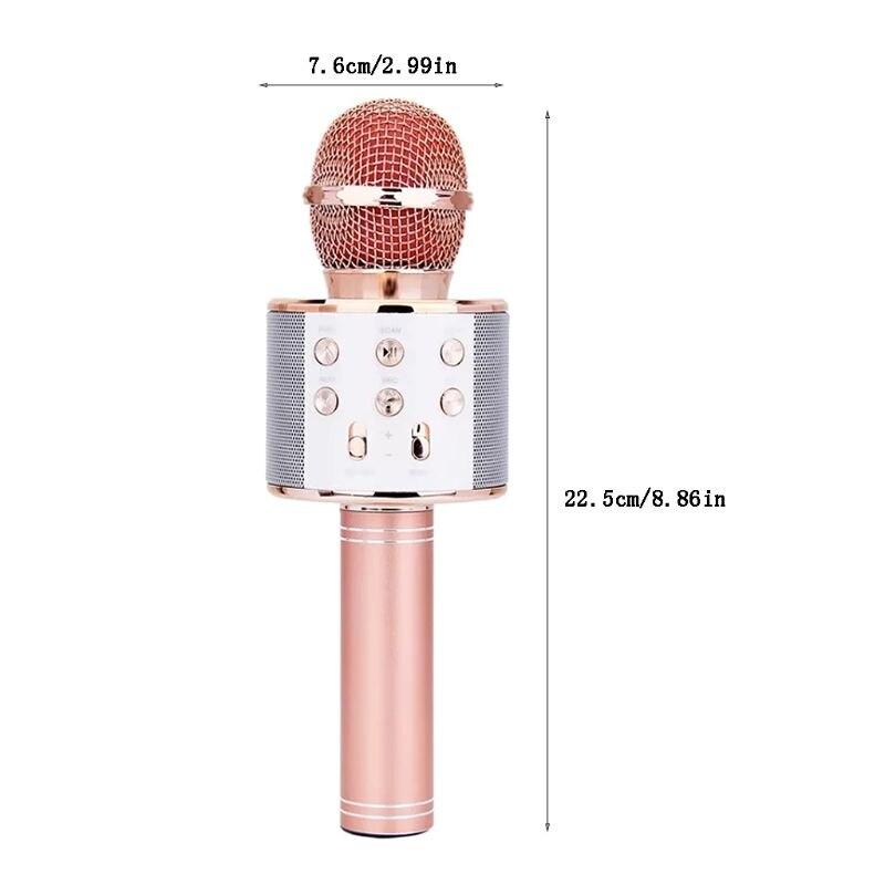 WS-858 Wireless Bluetooth Karaoke Condenser Microphone Speaker Player KTV Music