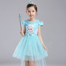 Girls Elsa Dress Costume Princess Cosplay Summer Autumn Kids Fancy Vestidos 3 4 5 6 7 8 9 10 Years Dress T401(China)