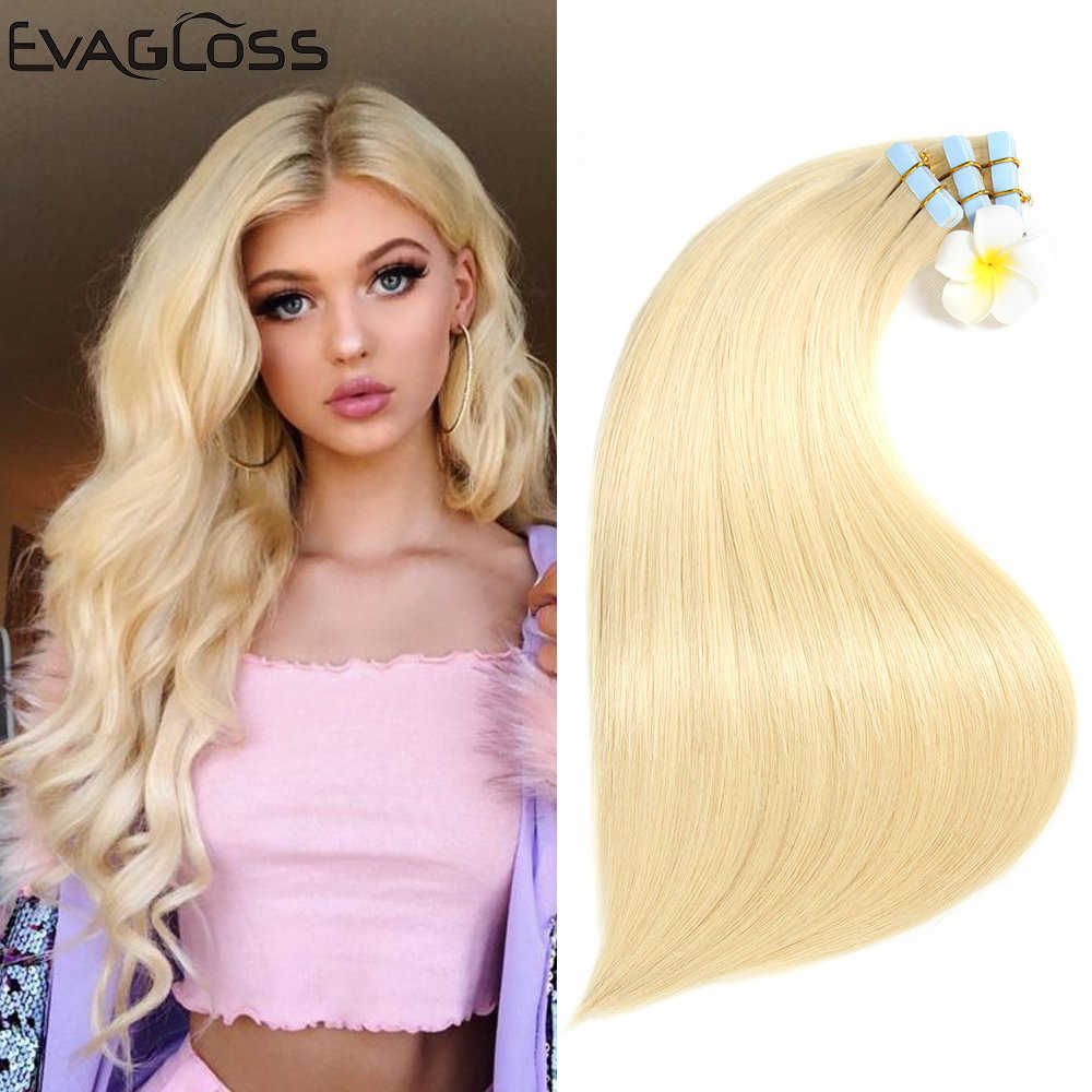 Evagloss Tape In Human Hair Extensions Huid Inslag Straight Europese Machine Remy Tape Hair Extensions Gratis Verzending