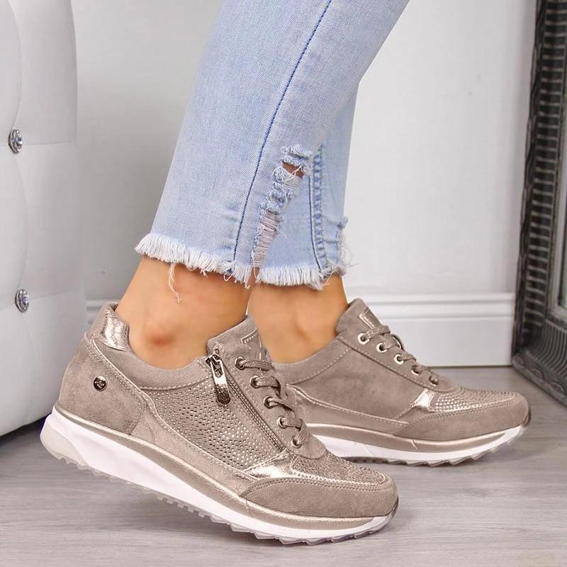 Walking Shoes Woman Gold Zipper Platform Footwear Casual Lace-Up Ladies Outdoor Fashion Jogging Shoes For Women Sports Shoes