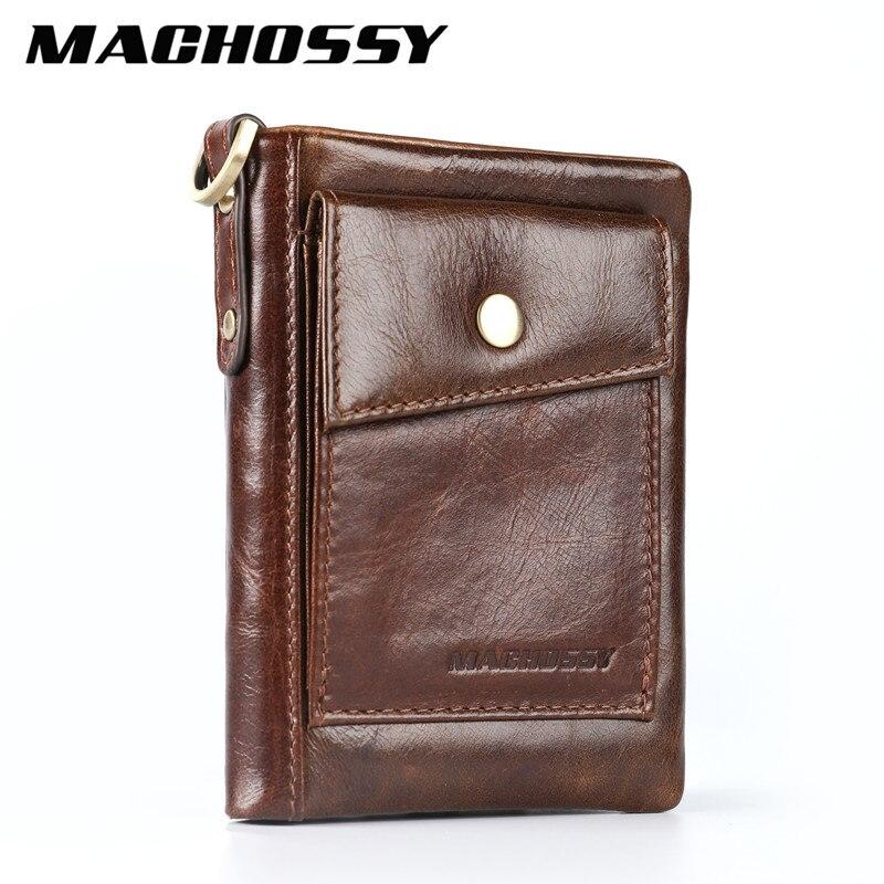 MACHOSSY RFID Wallet Men Genuine Leather Purse Men Slim Wallet Male Coin Pocket Card Holder Zip Money Bag Short Leather Wallets