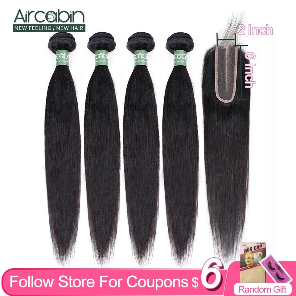 Aircabin-mechones de pelo liso con cierre de encaje, cabello humano brasileño Remy, cierre de Color Natural con extensión de cabello de mechones, 2x6