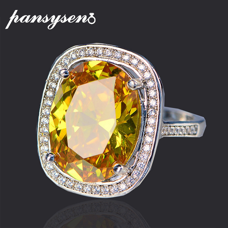 PANSYSEN Luxury 100% 925 Sterling Silver Engagement Wedding Rings Natural Pink Yellow Cirtrine Gemstone Jewelry Ring Size 6-9