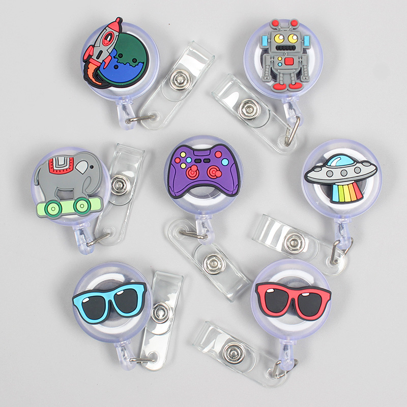 Creative Game Machine Robot Retractable Badge Card Holder Reel Nurse Exhibition Enfermera Boys Girl Gift Glasses Name Card Chest
