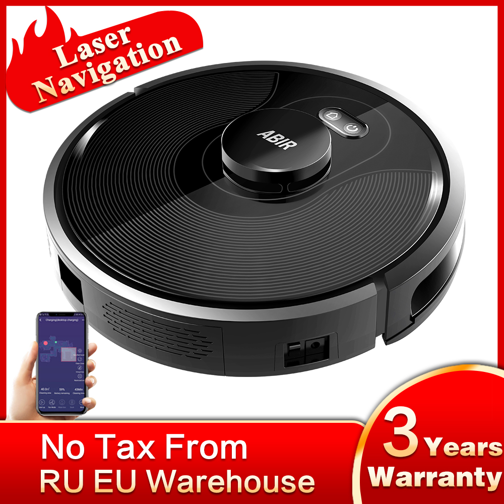Robot Vacuum Cleaner ABIR X8, Laser Lidar Navigation,5000pa Suction,Multi-Floor Map,UV Lamp,Y Shape Wet Mopping, APP No-Go Zones