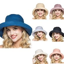 Connectyle Women Cotton Foldable Wide Brim Casual Sun Visor Bucket Hat UPF50+ Summer Play