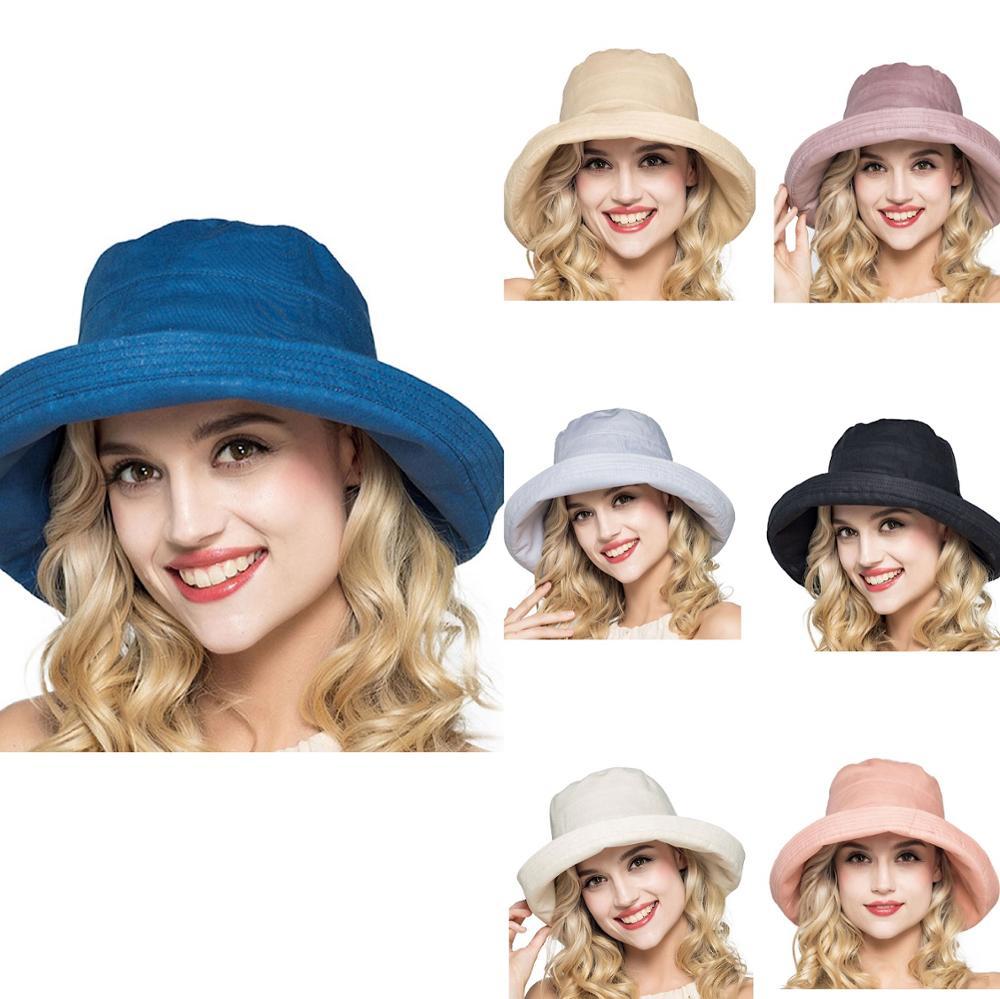 Женская хлопковая складная шляпа с широкими полями, солнцезащитный козырек, однотонная шляпа UPF50 + летняя игровая шапка