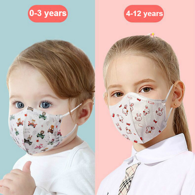 10-100PCS Children 3D Disposable Face Mask Independent Packaging Four Layers Breathable Anti-dust Face Mouth Mask Cartoon Masks 5
