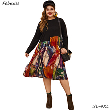 Long Sleeve Black Dress Woman Fall Plus Size Loose Floral Print 4XL O Neck High Waist Midi Dress 2019 Fashion Autumn Dress Women недорого