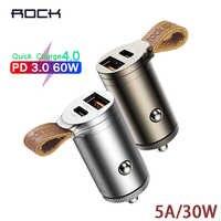 ROCHA de Carga Rápida 4.0 3.0 Carregador de Carro 30W USB-C PD QC4.0 QC3.0 QC 5A Carregador Rápido com Cinto Duplo mini USB carregador de Carro Carregador de Telefone novo