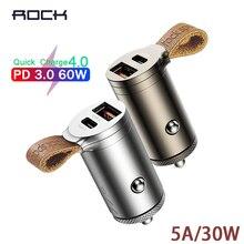 ROCK 빠른 충전 4.0 3.0 자동차 충전기 30W USB C PD QC4.0 QC3.0 QC 5A 빠른 충전기 벨트 듀얼 USB 미니 자동차 전화 충전기 새로운