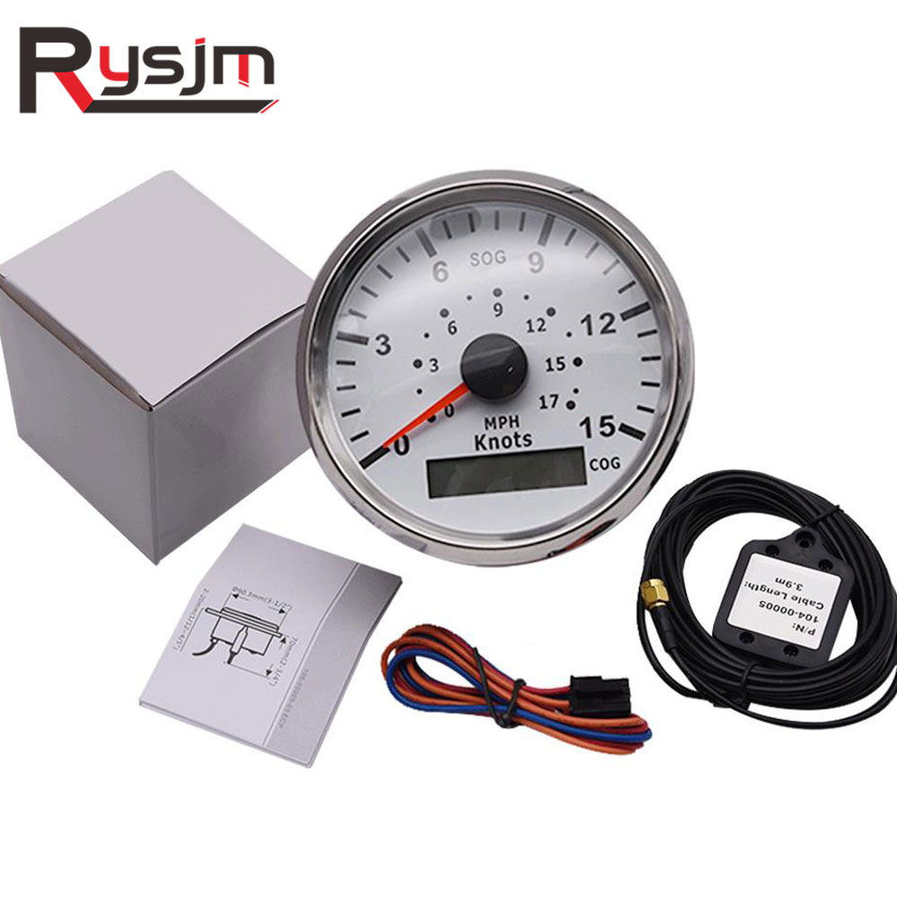 85mm GPS Speedometer motorcycle 15Knots 0-17 MPH Universal Boat Car Speed Gauge 9-32V For Marine Vehicles 9-32V instrument panel