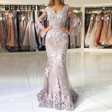 Muslim Mermaid Evening Dresses with Sleeves Vestidos Largos Lace Islamic Dubai Lebanon Elegant Long Party Prom Gowns 2020