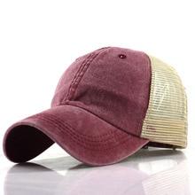 Hot Retro Baseball Caps Hats Men Casquette Washed Mesh Cap  Trucker Messy Bun Summer Hat Female Adjustable Hip Hop