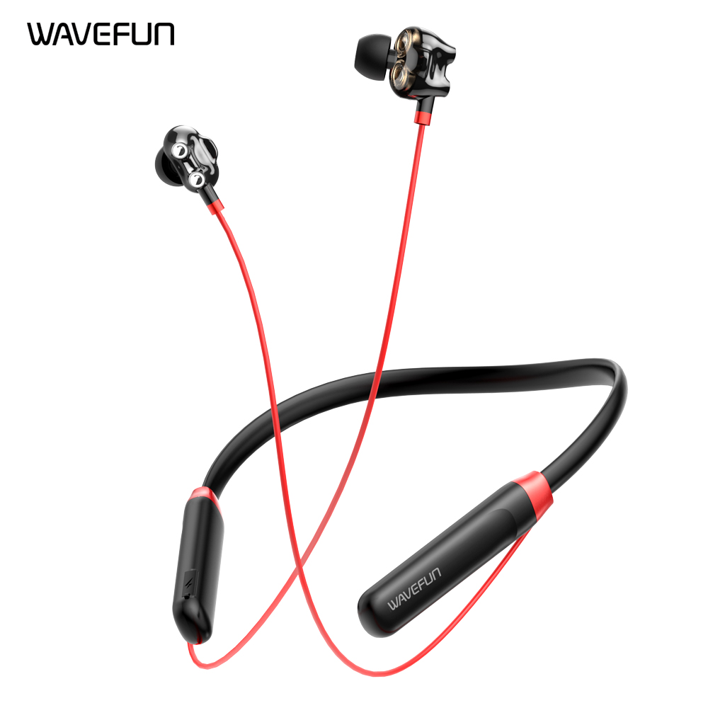 Bass Earphones Wavefun Speakers Music-Time Bluetooth 5.0 Wireless with Mic Dual-8mm 10-Hours