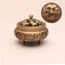 Copper craftsman's three legged incense burnerhousehold Zen Xuande stove plate sandalwood burner carving incense burner pure