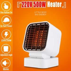500W 3 Second Fast Electric Heater Fan Mini Portable Heater Stove PTC Ceramic Warmer for Winter Household Indoor Heating Camping