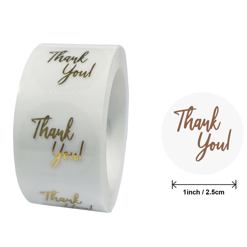 50 Labels 1inch Clear Gold Foil Thank You Stickers For  Wedding Pretty Gift Cards Envelope Sealing Label Stickers