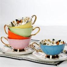 Кофейные чашки фарфоровые высококачественные чайные с бабочками