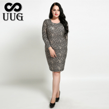 UUG 2xl-7xl Women Bodycon Dress Leopard Inner Dresses Soft Thin High Elastic Vestidos 5xl 6xl  Autumn Spring Basic Sheath Dress мужская футболка bigguy 2xl 5xl 7xl 2015 t ctx 01